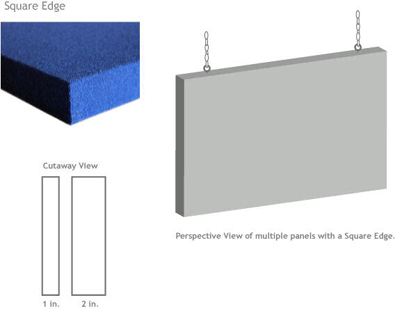 acoustic baffle with square edge