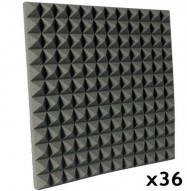 pyramid acoustic foam kit charcoal 36