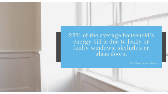 Percentage of Energy Bill Due to Faulty Windows or Glass Doors
