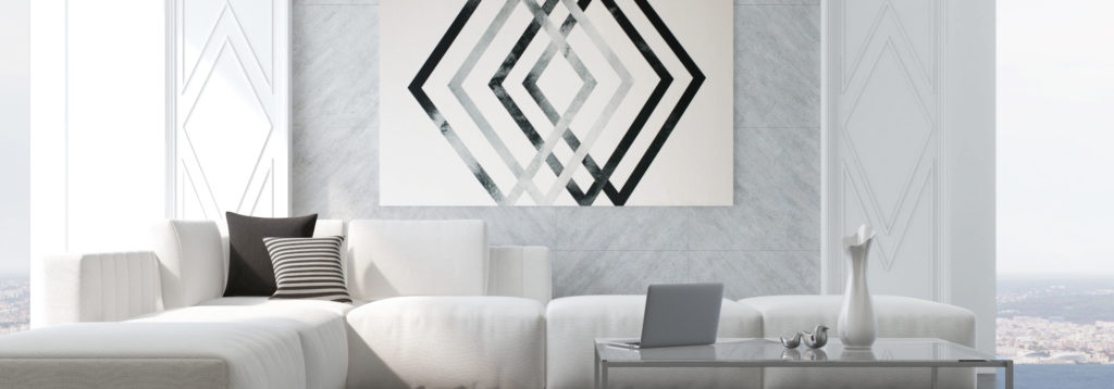 white and black acoustic art panel