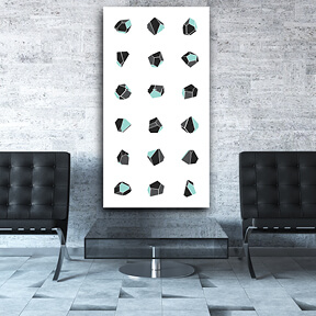 grey and turquoise art acoustic panel
