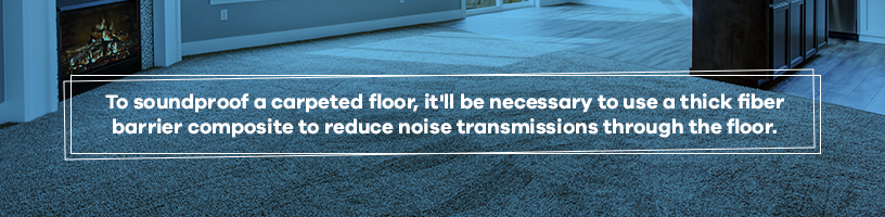 soundproof carpeted floor with barrier composite