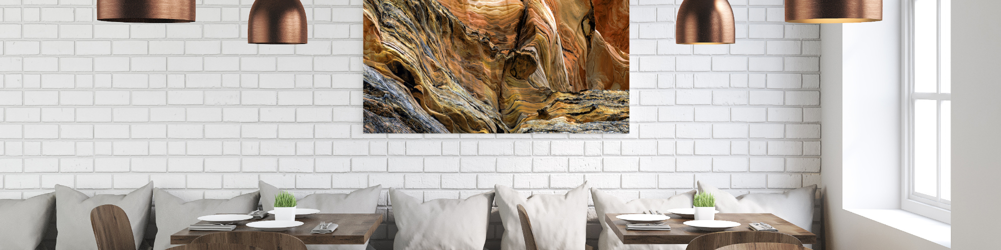 restaurant with art acoustic panel