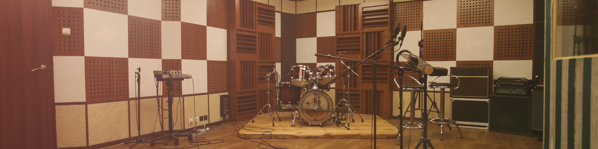 music room with drums and microphones