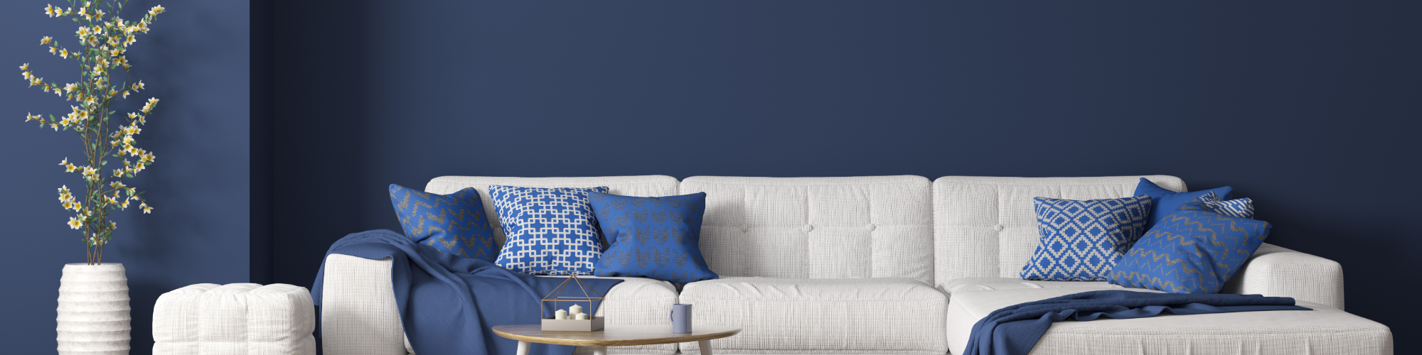 blue room with white couch
