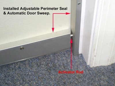 ... Soundproofing Automatic Door Sweep with activator pin & Quiet Door™ Automatic Door Sweep - Soundproof Cow